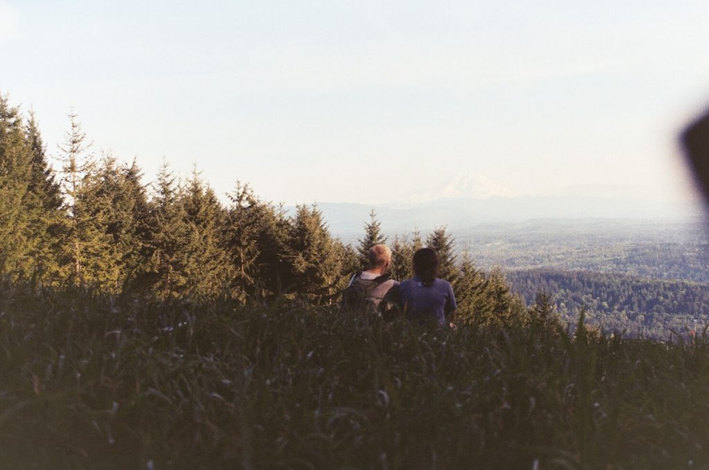 A film photo of a couple at Poo Poo Point in Issaquah, WA