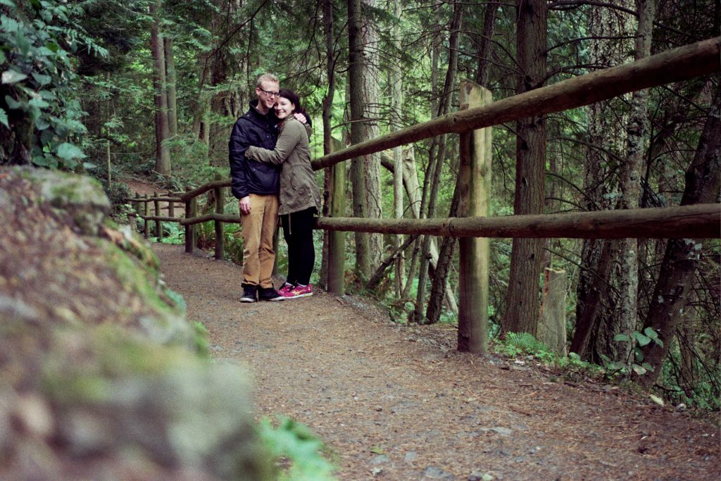 A photo of a couple at Deception Pass, Whidbey Island, WA
