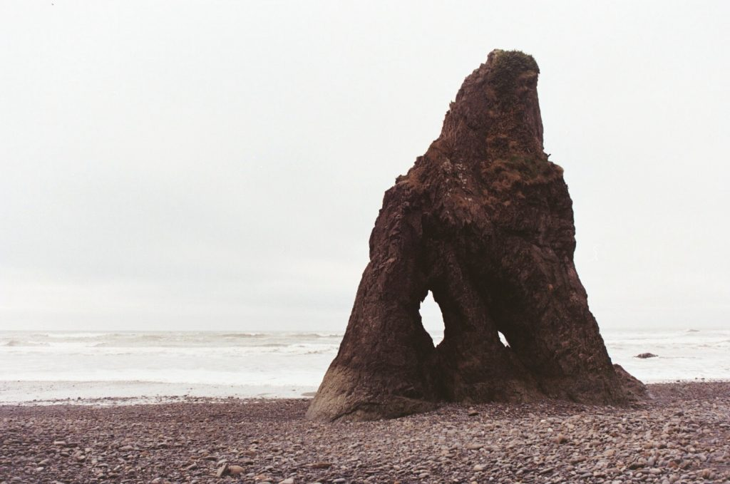 A film photo of Ruby Beach on the Washington peninsula