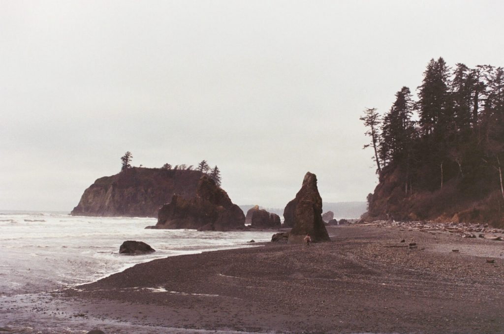 A film photo of Ruby Beach on the Washington Coast
