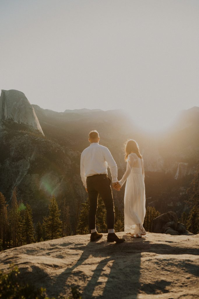 Bride and groom portraits during their elopement at Glacier Point in Yosemite National Park, CA