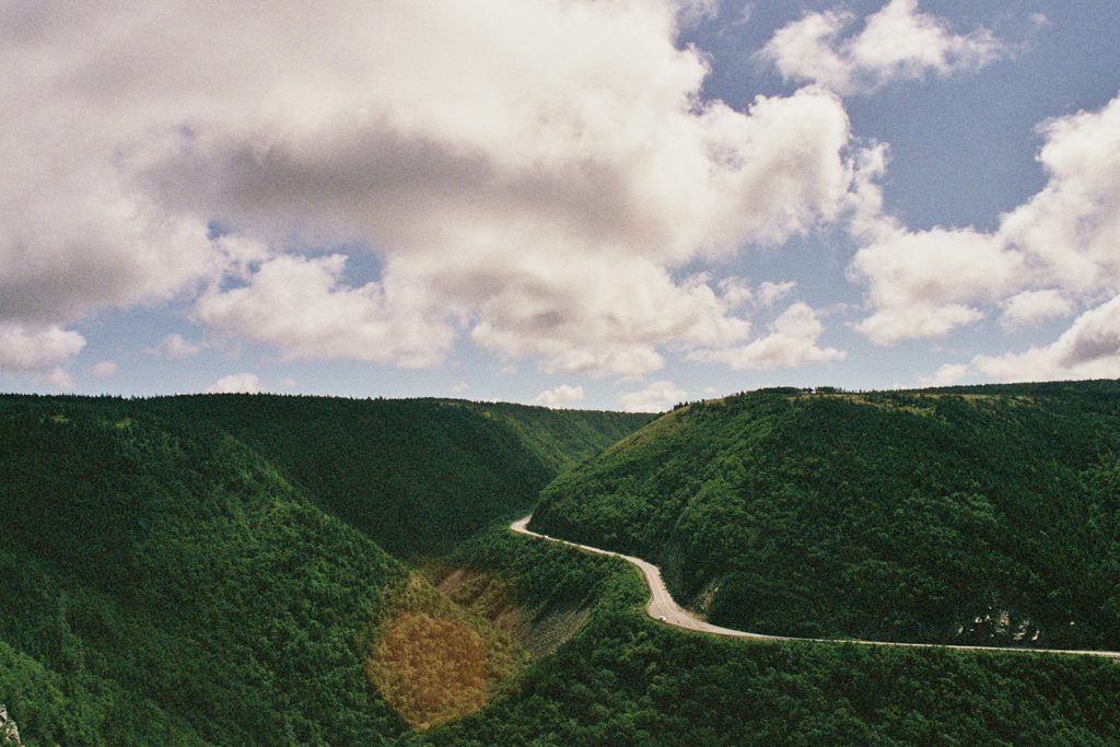 A film photo of the Cabot Trail in Nova Scotia