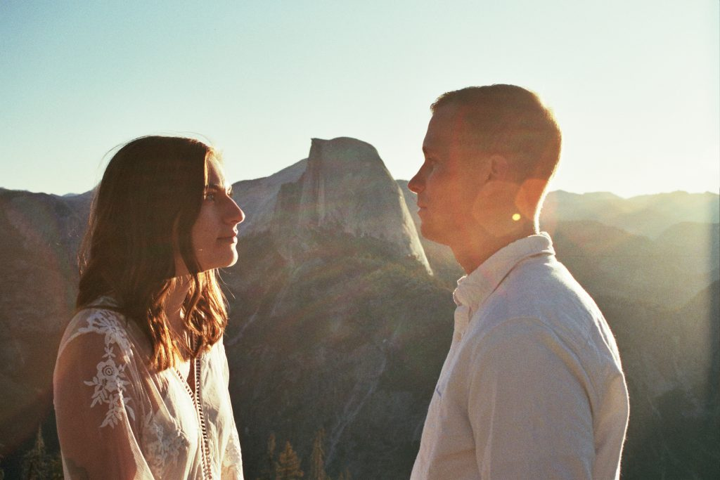 a film portrait of a bride and groom during their Yosemite National Park elopement
