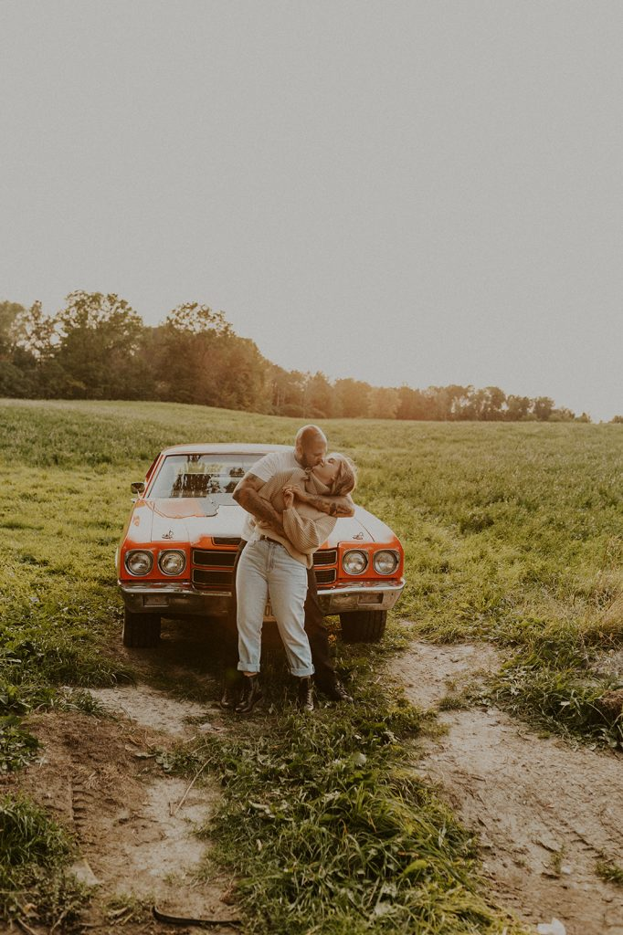 a couple and their vintage car during their couples session